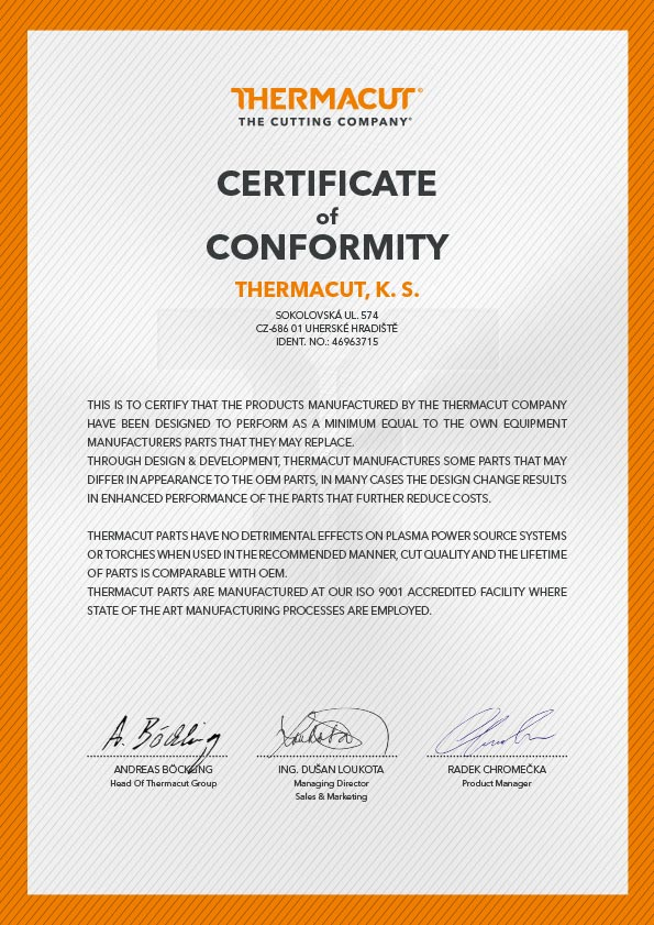 certificate of conformity